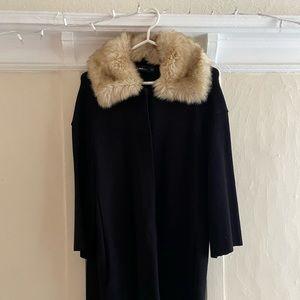 Zara knit coat with faux fur collar